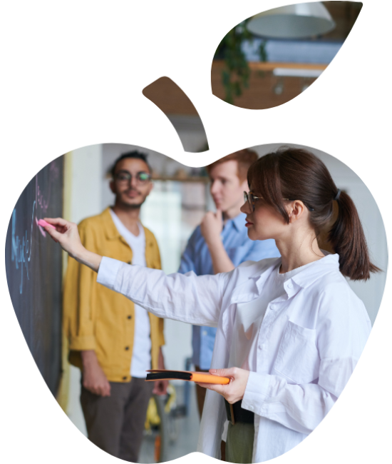 Graphic of a teacher inside apple for home page of OES website