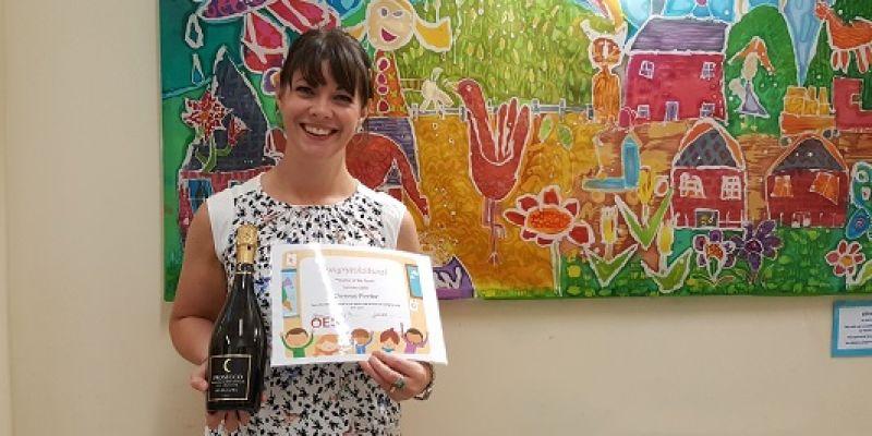 Teacher with Teacher of the Term Award sponsored by OES